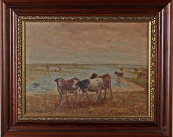 Cows on the water, oil on canvas, signed