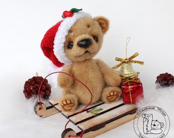 OOAK/Artist Teddy Bear/Bear Nick with sled