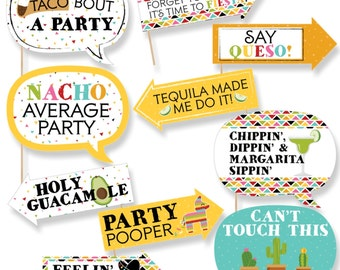 Funny Let's Fiesta Mexican Party Photo Booth Props - Cinco de Mayo Party Photo Booth Prop Kit - Mexican Fiesta Selfie Photo Props - 10 pc.