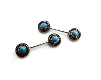 14g 14mm / Turquoise Centered Tribal Shield Ends 316L Surgical Steel / Nipple Ring