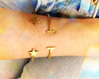 Star Cuff Bracelet / Brass Star Cuff / Star Bracelet / Brass Cuff Bracelet / Celestial Cuff Bracelet / Brass Bracelet / Gold Cuff Bracelet