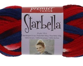 "Starbella Yarn, 1 Skein, Color 15-24, ""America"", Red, White, Blue, Premier Yarns, 100% Acrylic"