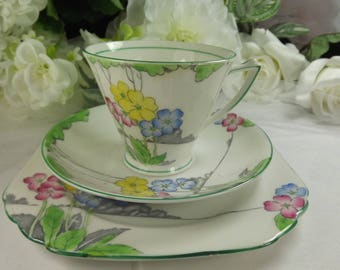 Art Deco Teacup, Saucer, Plate , Hand Finished