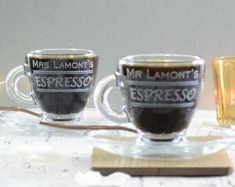 Personalised Wedding Espresso Glasses Set