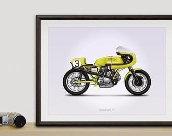 Spaggiari Ducati motorcycle illustration poster, print 18 x 24 inches