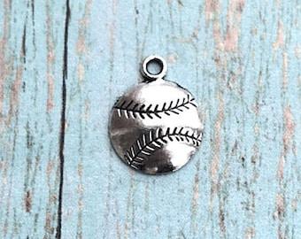 Baseball charms etsy 8 baseball charms antique silver tone 1 sided silver baseball pendants baseball aloadofball Gallery