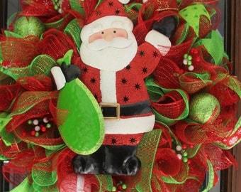 Santa Clause mesh Christmas Wreath