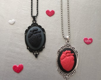 Valentine's Day  RED HEART Necklace  FREE Shipping Last minute gift - black heart - anti-Valentine's Day 40x30 heart cameo setting