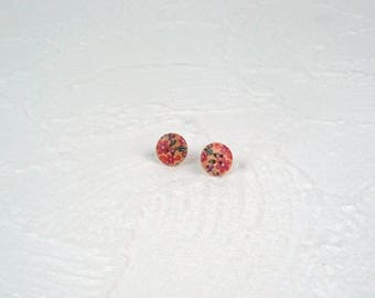 Earrings wooden button colorful flowers