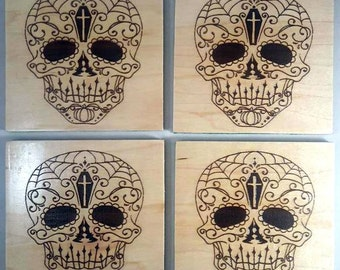 Sugar Skull Drink Coasters