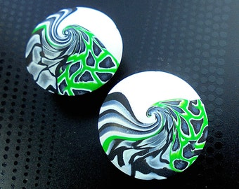 2 handmade green beads, lentil beads, Polymer clay beads, Handmade beads, Swirl beads, Unique beads, Artist beads, Craft beads, Round beads