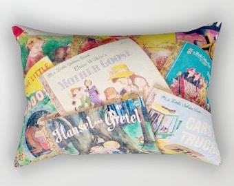 Little Golden Books Rectangular Pillow: PILLOW INSERT INCLUDED - books, vintage books, children's books, bedding, nursery