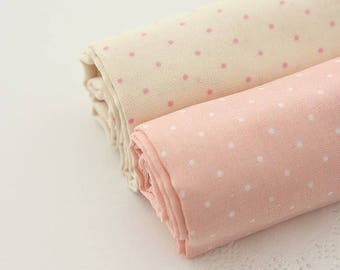 Polka Dots Pattern Cotton Double Gauze Fabric by Yard- 2 Colors Selection