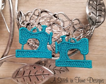 FSL Sewing Machine Earrings or Charms - Machine Embroidery - File Instant Download