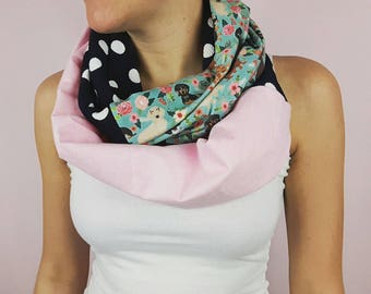 Teckel infinity scarf, organic jersey knit, floral Dachshunds, teckle lover infinity scarf, polka dots custom scarf, Aprt scarf, women