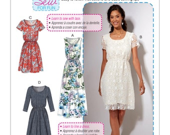 McCall's Sewing Pattern M7530 Misses' Gathered-Waist, Scoopneck Dresses