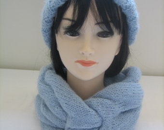 Set interlaced snood and hat with Pompom wool mohair and acrylic