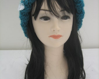 Big Cap wool 100% Merino with organza flowers