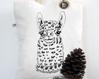 Screen Printed Llama Tote Bag