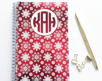 Personalized Notebook, Medallion Design and Monogram in Color Foil Spiral Notebook, Writing Journal (NB19-F)