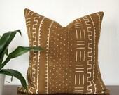 "Mudcloth Pillow 18"" Light Brown"