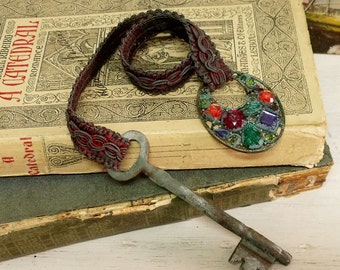 Vintage verdigris Key rhinestones bookmark book decor