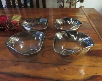 Elegant Vintage Silver Fade Dip/Salad Bowls Set of Four
