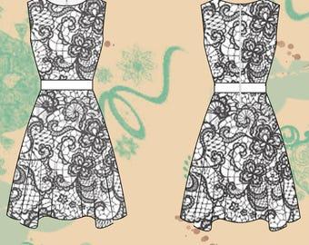 Sewing pattern women dress, short dress women, prom dress, wedding dress, bridesmaid dress, prom dress size 36/44 PDF SP EN download