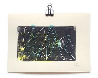 abstract geometrical MONOTYPE lines, geometrical form, monoprint, art print, mini print, minimal art, original printmaking, DIN A5, black