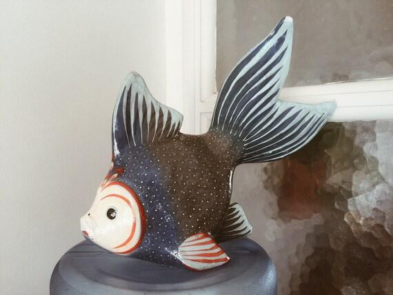 paper mache mexican fish/Mexican folk art fish/fishes/ocean/beach decor/ocean decor/fishes/mexican art/art/original art/handmade/vintage
