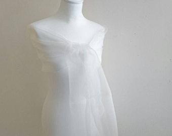 Big ivory shawl very light ivory organza bridal party wedding party 70/200 cm