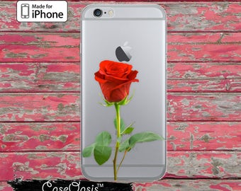 Red Rose Long Stem Flower Floral Leaves Cute Clear Case iPhone 6 Plus iPhone 6s iPhone 6s Plus iPhone 5 iPhone 5c iPhone SE iPhone 7 + Case