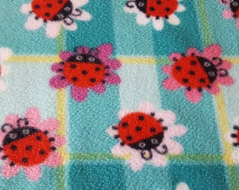 Ladybugs on Flowers Plaid Anti Pill Fleece Fabric Sold by the Yard