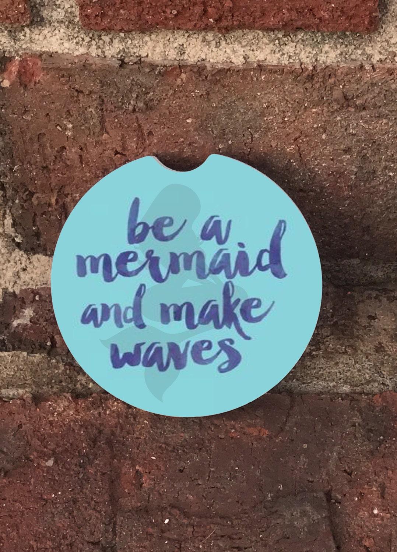 Custom Be A Mermaid Sandstone Auto Car Cup Coasters Set Of2