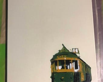 W class tram stencil art on canvas spray can pop art Made in Melbourne