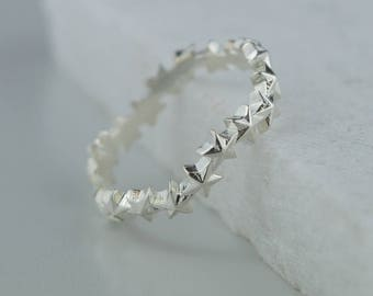 Sterling Silver Star Cluster Ring