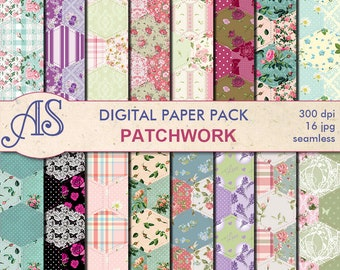 Digital Patchwork Quilt Fabric Seamless Paper Pack, 16 printable Digital Scrapbooking papers, Fabric Collage, Instant Download, set 202