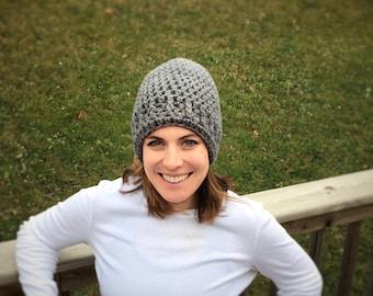 Light grey crochet beanie