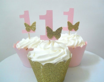 12 Butterfly First Birthday Decorations Fairy First Birthday Party Butterfly Cupcake Toppers Pink and Gold First Birthday Cupcake Toppers