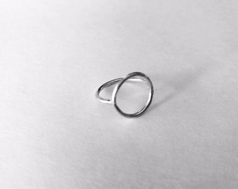 Open circle ring, sterling silver, size 6.75 US