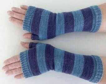 Stripe gloves, wristwarmers, armwarmers, fingerless gloves, purple striped gloves, long wool gloves, stripe wrist warmers, arm warmers