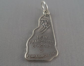 STERLING SILVER State of New Hampshire Charm for Bracelet or Necklace