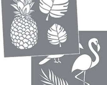 "Americana Decor, Tropical, Pineapple, Birds, 8"" x 8"", 2 Stencils Per Package, Reusable Stencils"