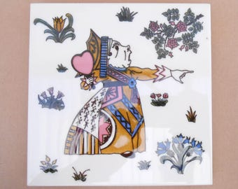 Alice in Wonderland Ceramic Tile/Trivet/Pot Stand - 'The Queen of Hearts' made for the Victoria & Albert Museum - Alice Collectible