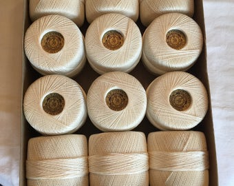 Vintage Cotton J & P Coats White Crochet Thread; Box of 12 Balls; 30 Weight