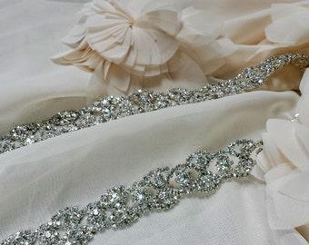 Skinny Crystal Chain Wedding Dress Sash; Thin Rhinestone Bridal Wedding Sash; Jeweled Bridal Belt; Unique Wedding Dress Sash;Braided Sash