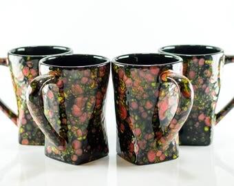 Mugs - 12 oz - (Set of 2 or 4) Masquerade - Bursting Crystal Design - Hand Painted