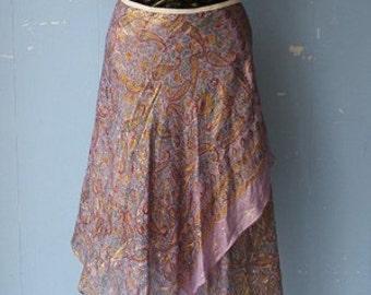 Vintage 70s Iredescent Handkercheif Wrap Skirt/Cotton Gauze/Metalic Thread/Hippy/Hippie/Boho/Flower Child/Fetival/