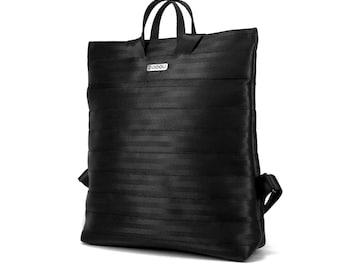 Seatbelt laptop backpack, with LED light inside, and 2 inside pockets. Fits a laptop or a folder. MODEL: BOOGIE L