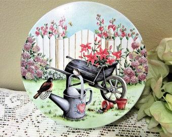 Tin Cookie Storage Container Candy Kitchen Flower Garden Scene with hearts blm